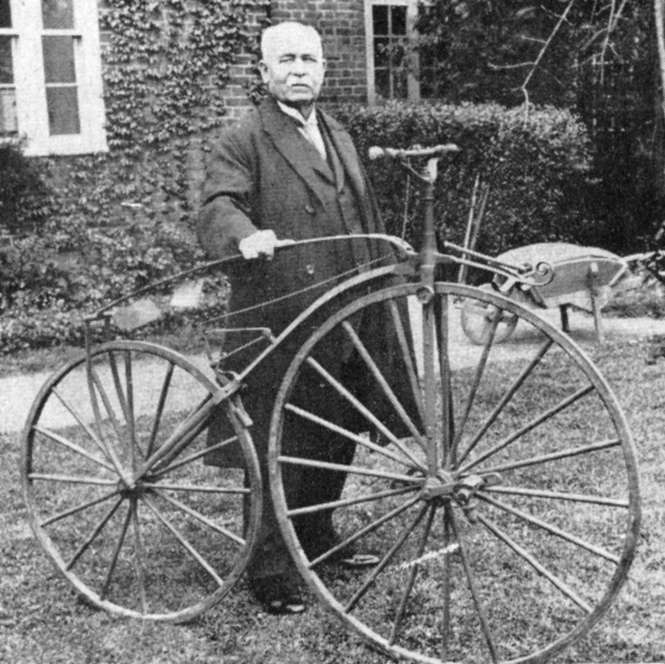 James Moore, with the bicycle on which he won the Paris-Rouen race in Nov. 1869